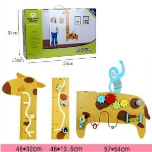 Placa de masurat din lemn Girafa cu activitatii copii - Panou cu activitatii si masuratoare copii1