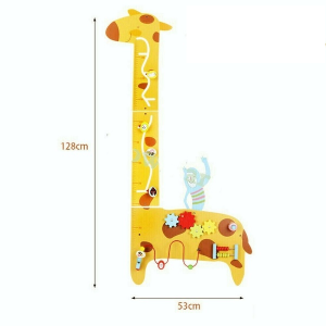 Placa de masurat din lemn Girafa cu activitatii copii - Panou cu activitatii si masuratoare copii0
