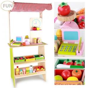Stand din lemn cu accesorii - Supermarket din lemn  copii1