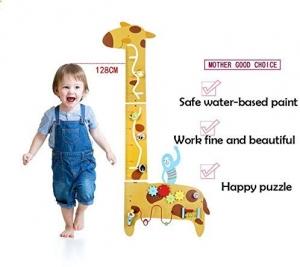 Placa de masurat din lemn Girafa cu activitatii copii - Panou cu activitatii si masuratoare copii3