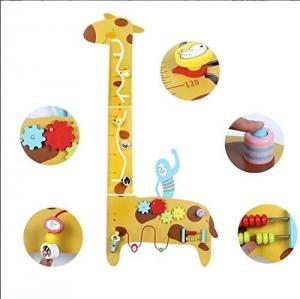 Placa de masurat din lemn Girafa cu activitatii copii - Panou cu activitatii si masuratoare copii2