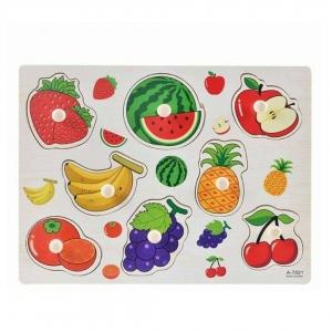 Puzzle din lemn cu maner Fructe0