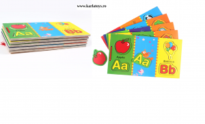 Carte din lemn Alfabet si imagini magnetice1