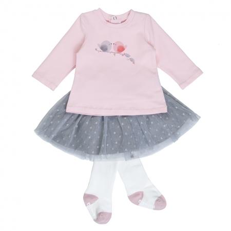 Babybol Set  fetita fusta tulle cu tricou si dres, roz0