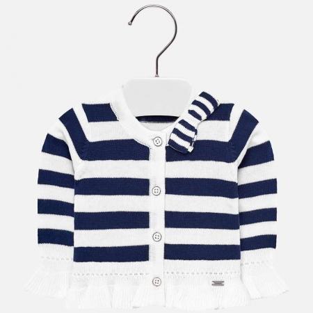 Cardigan din tricot cu fundita fete, Mayoral, dungi navy