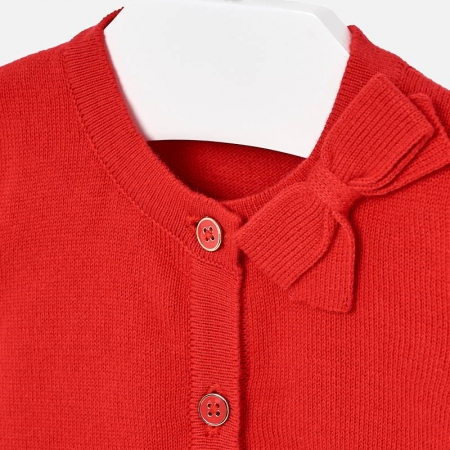 Cardigan din tricot cu fundita fete Mayoral rosu