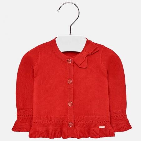 Cardigan din tricot cu fundita fete Mayoral rosu0