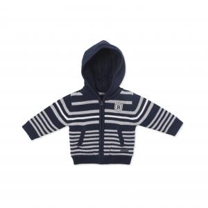 Jacheta tricotata cu gluga Babybol, navy