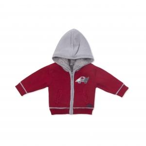 Jacheta tricot baiat imblanita, rosie, Babybol