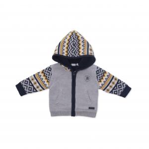 Jacheta tricot baieti imblanita gri Babybol