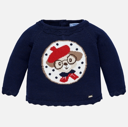 Mayoral - Pulover tricotat fetite, navy, imprimeu catel