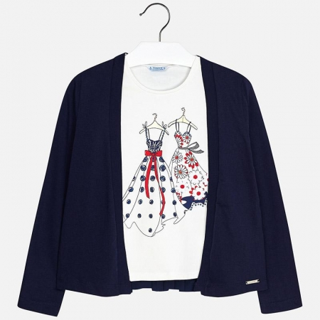 Mayoral - Set fete cardigan si tricou , navy, 8-16 ani