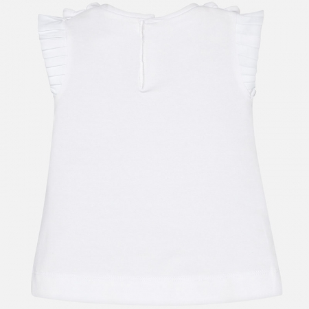Mayoral - Tricou fete maneca scurta, alb, 6-36 luni