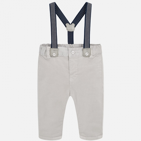 Pantalon lung cu bretele baiat Mayoral, gri