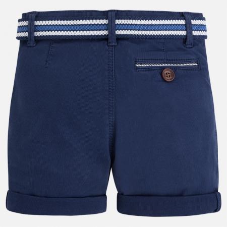 Pantalon scurt baiat cu curea Mayoral, alb/navy