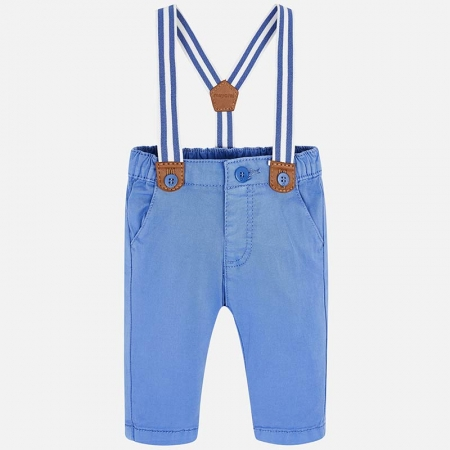 Pantaloni bebe baiat cu bretele, azur, Mayoral0