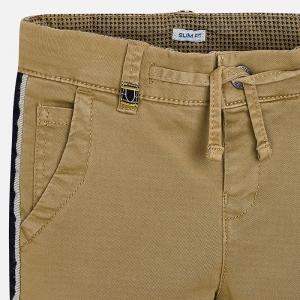 Pantaloni bej cu benzi lateral