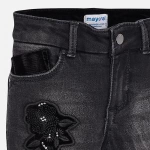 Pantaloni denim cu broderie Mayoral, negru2