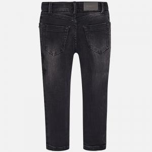 Pantaloni denim cu broderie Mayoral, negru1