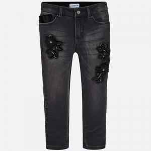 Pantaloni denim cu broderie Mayoral, negru