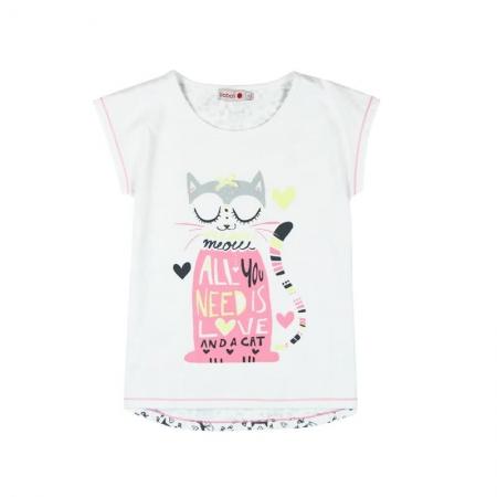 Pijama maneca scurta fete, Boboli, imprimeu pisica