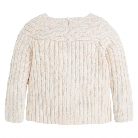 Pulover tricotat cu perle , Mayoral, bej