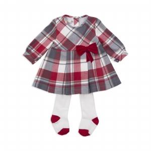 Rochie eleganta cu maneca lunga din bumbac cu dres , Babybol, rosie