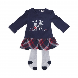 Rochie fetite cu dres inclus, Babybol, culoare navy