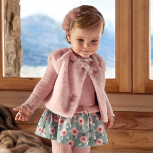 Rochie tricot combinat fetita Mayoral