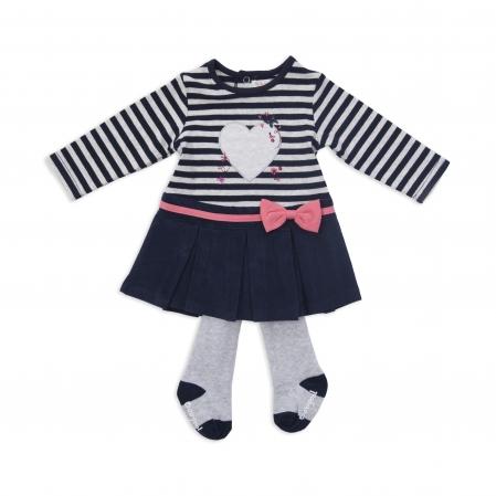 Rochita bumbac Babybol cu dres inclus, dungi navy