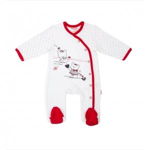 Salopeta cu maneca lunga bebe rosu Babybol