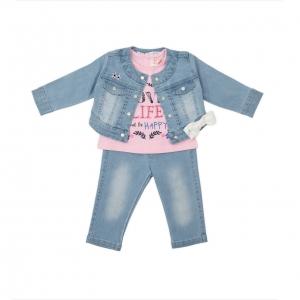 Set 3 piese jeans fata Babybol roz