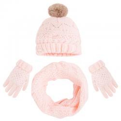 Set iarna fete caciula, fular si manusi Mayoral roz