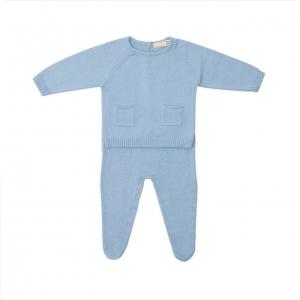 Set nou nascut tricot bumbac Babybol blue