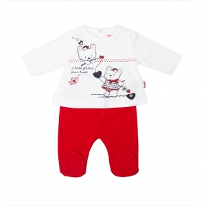 Set nou-nascut tricou+pantalonas Babybol rosu