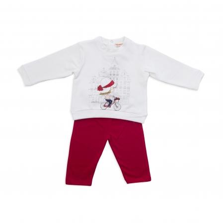 Set tricou maneca lunga si colant, Babybol, rosu