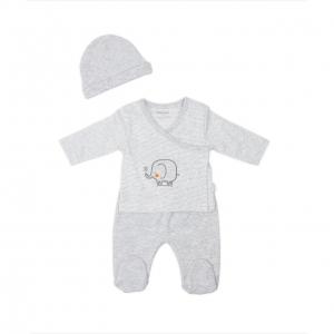 Set tricou+pantalonas+caciula bebe Babybol gri