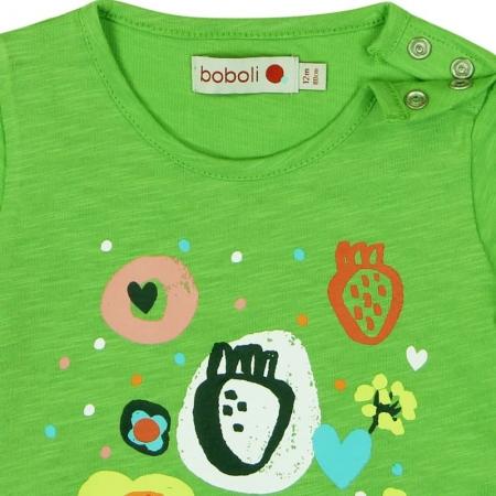 Tricou verde fetite cu imprimeu, Boboli2