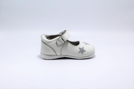Pantofi fete albi din piele, Happy Bee ShineyStar, marimi 19-24 EU1