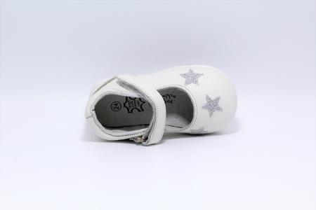 Pantofi fete albi din piele, Happy Bee ShineyStar, marimi 19-24 EU3