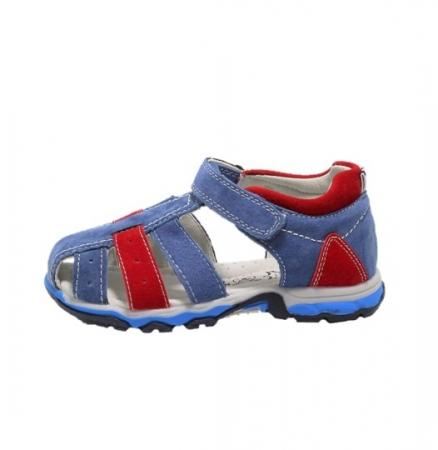 Sandale baieti din piele, HappyBee Denim Blue/Red, marimi 26-31 EU