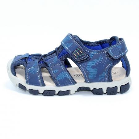 Sandale baieti HappyBee, piele si material textil, Army Camuflaj Navy, marimi 25-30 EU0