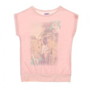 Bluza F&F, roz pal cu imprimeu, 6-13 ani