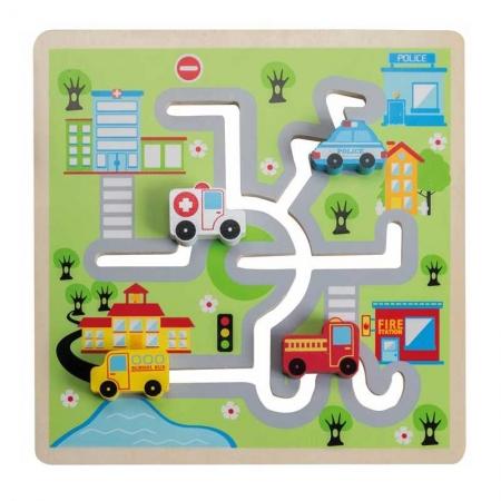Puzzle lemn labirint auto0
