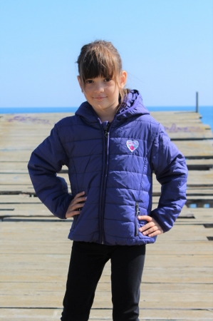 Jacheta fete Little Marcel, model Preppy Rock, 3-14 ani, culoare Bleu Nuit3