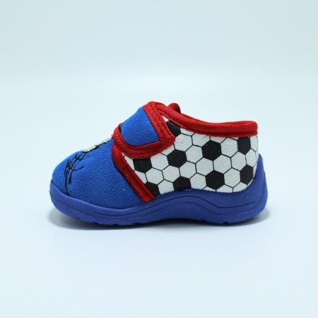 Papuci interior baieti, albastru/gri, model Fotbal585