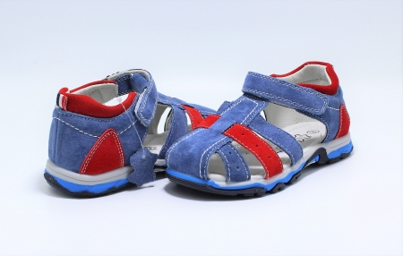 Sandale baieti din piele, HappyBee Denim Blue/Red, marimi 26-31 EU7