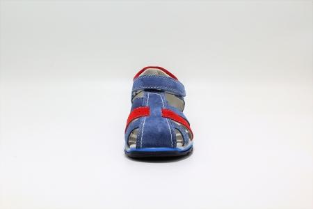 Sandale baieti din piele, HappyBee Denim Blue/Red, marimi 26-31 EU3