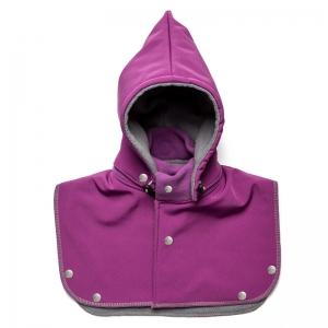 Glugă și fular de încălzire a gâtului pentru bebeluși Liliputi - Violet-grey