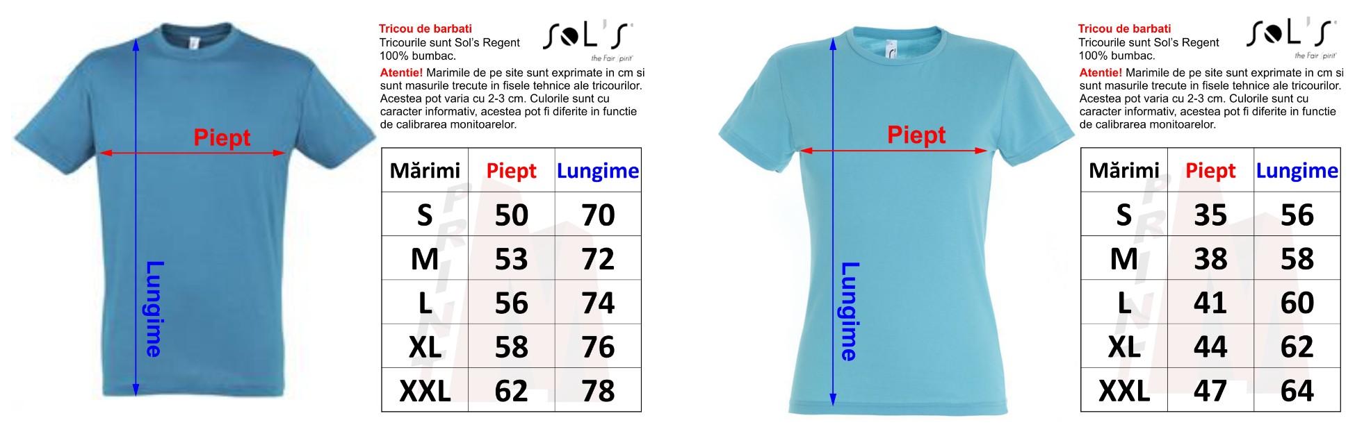 Imagini pentru tabel marimi tricouri sols